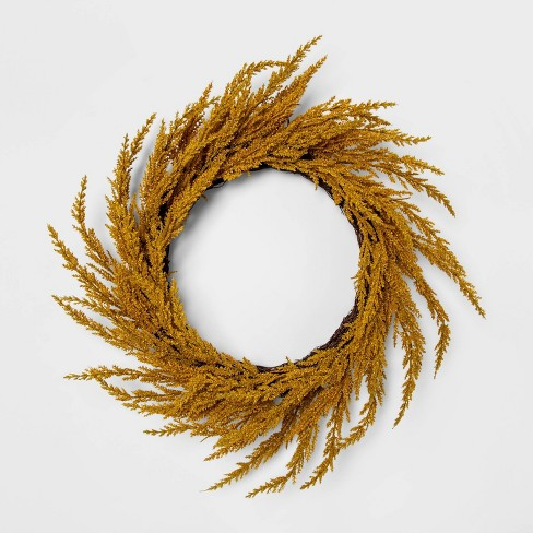 "22"" Artificial Goldenrod Wreath Yellow - Threshold™ - image 1 of 5"