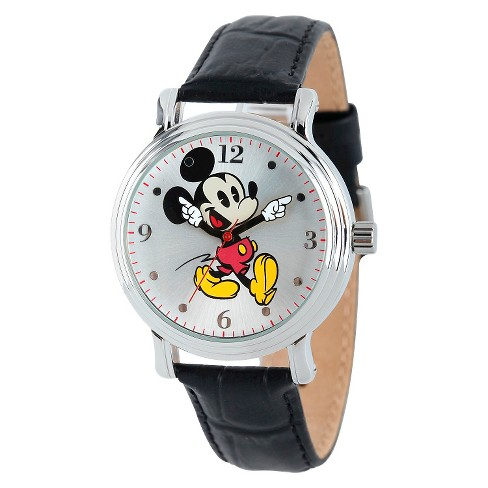 Women's Disney® Mickey Mouse Shinny Vintage Articulating Watch with Alloy Case - Black - image 1 of 2