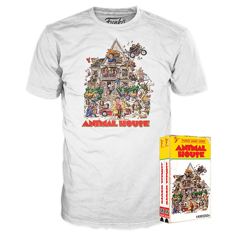Funko Vhs Packaged T-Shirt : Animal House - White M, Gray