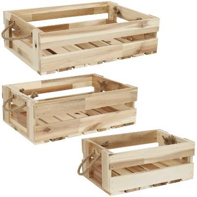3pk Rectangle Acacia Wood Tray with Handles - Sunnydaze Decor