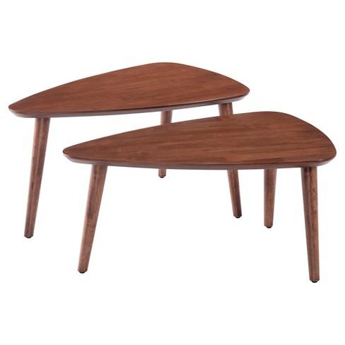 Mid Century Modern Triangular Nested Tables Walnut Zm Home