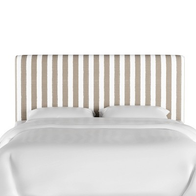 Queen Olivia Upholstered Headboard Taupe/White Stripe - Skyline Furniture