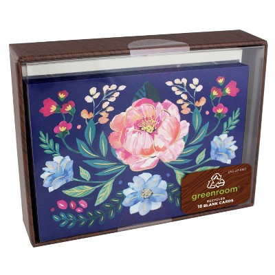 """5.5"""" x 4.25"""" 18ct Cards Floral Mirror Navy"""