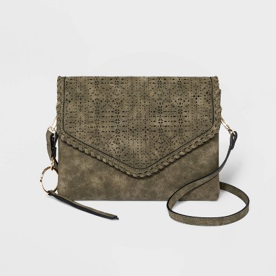 VR NYC Magnetic Closure Mosaic Design Laser Cut Crossbody Bag - Olive Green