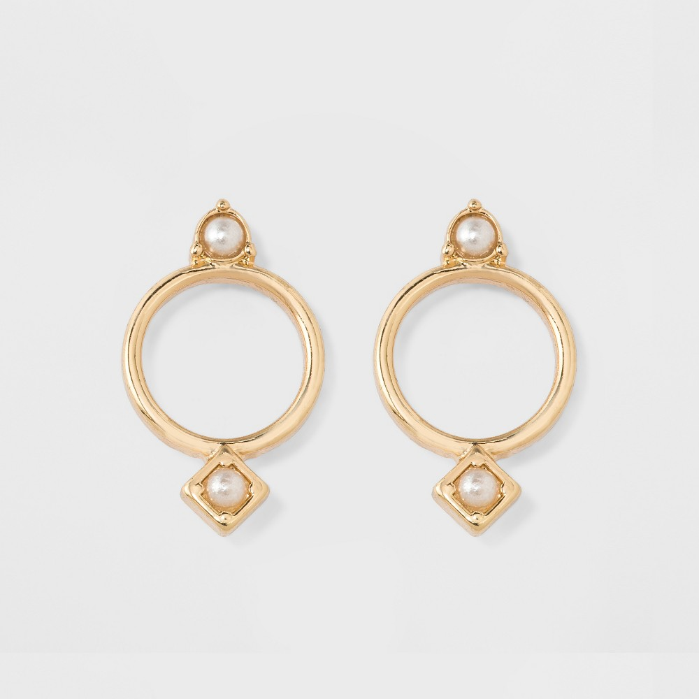 Cubic Zirconia Small Circle Earrings - A New Day Gold
