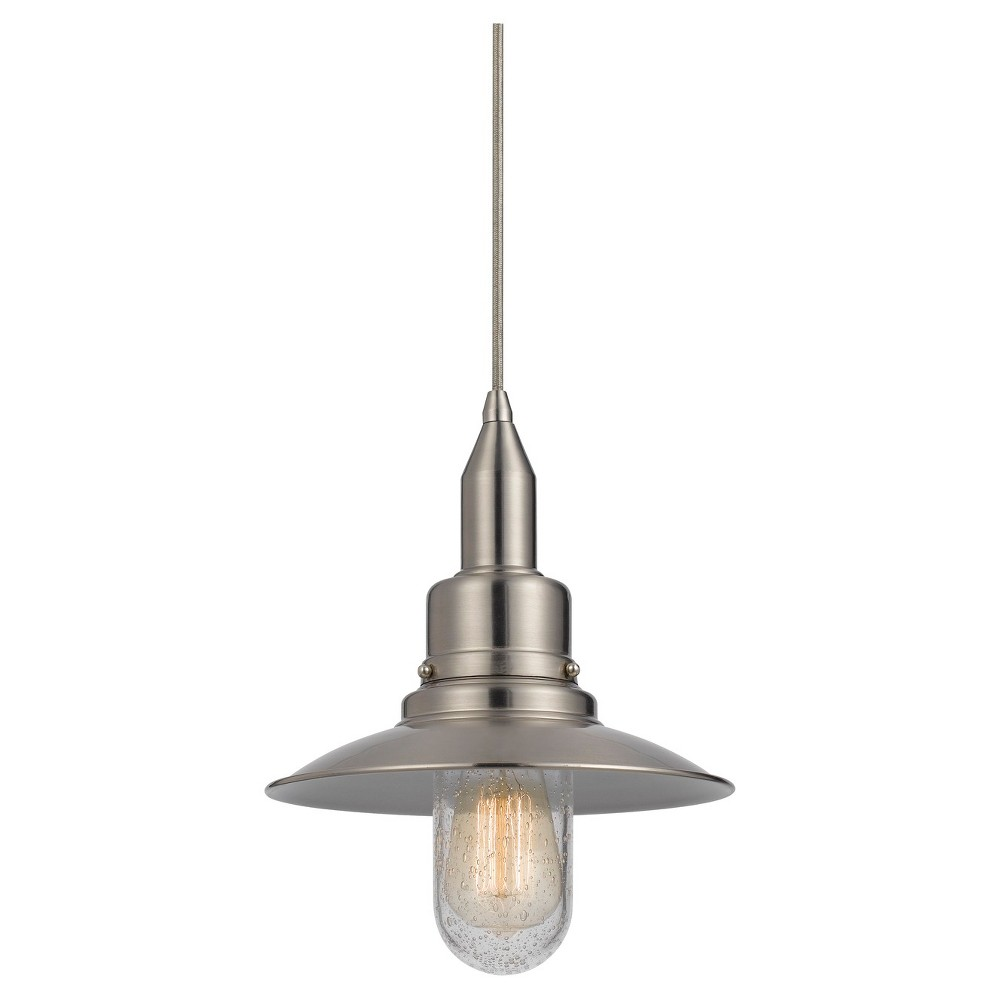 Cal Lighting Patterson Brushed Steel finish Metal Pendant Cal Lighting Paterson metal pendant in Brushed Steel finish with matching canopy. Cal Lighting makes this item in 3 finishes. (Sold separately) Gender: unisex.