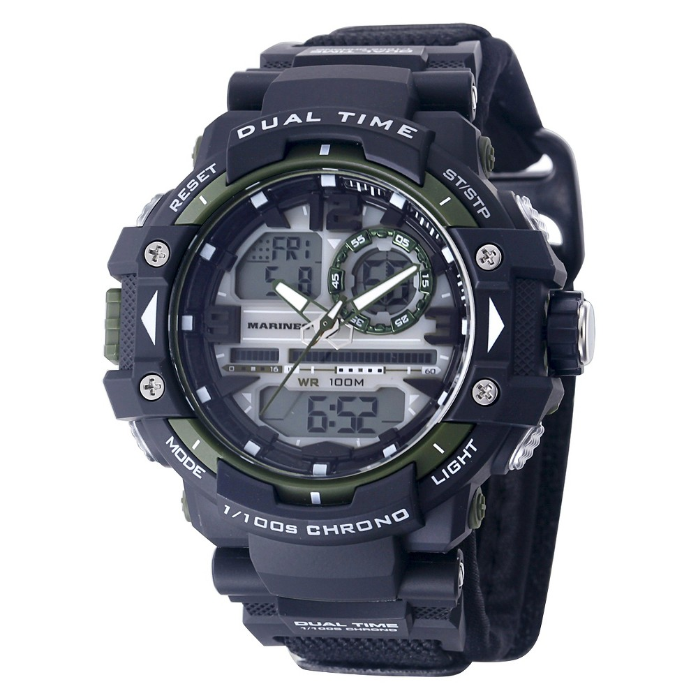 Men's U.S. Marine Corps C41 Multifunction Watch By Wrist Armor-Black And Green Dial - Black Nylon Strap, Size: Small