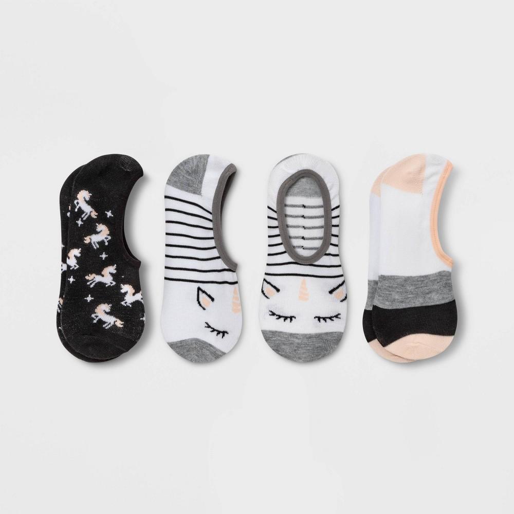 Women 39 S Unicorn 3pk Liner Socks Xhilaration 8482 White Peach Black 4 10