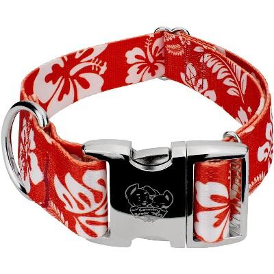 Country Brook Petz® 1 1/2 Inch Premium Red Hawaiian Dog Collar