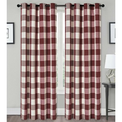 Kate Aurora Country Farmhouse Living Classic Buffalo Plaid Checkered Grommet Top Curtains