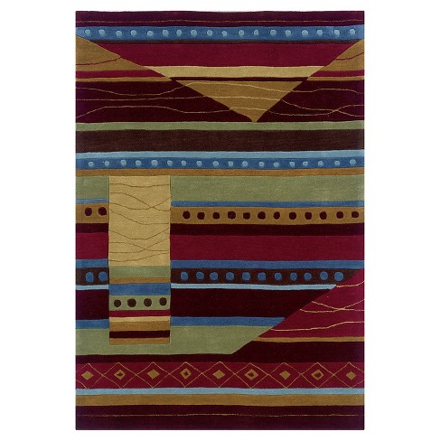 """Trio Collection Abstract Accent Rug - Green / Garnet (1'10"""" X 2'10"""") - image 1 of 1"""