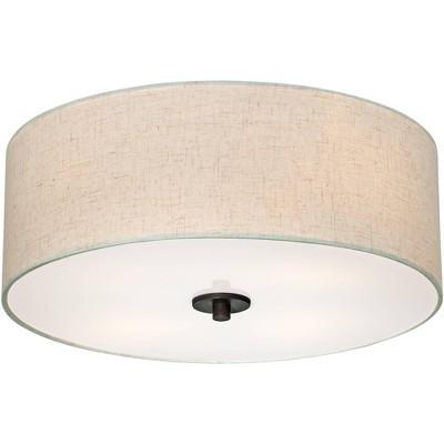 "Regency Hill Modern Ceiling Light Flush Mount Fixture Bronze 18"" Wide Off White Oatmeal Fabric Drum Shade Bedroom Kitchen Hallway"