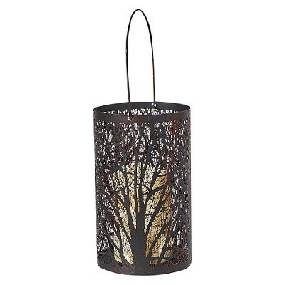 "Smart Living Arboretum 8"" H LED Candle Outdoor Lantern- Antique Black"