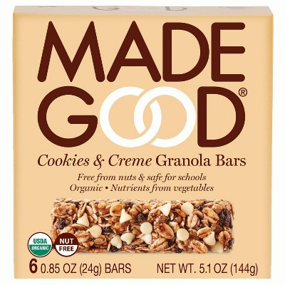 MadeGood Cookies & Creme Granola Bar - 5.1oz/6ct