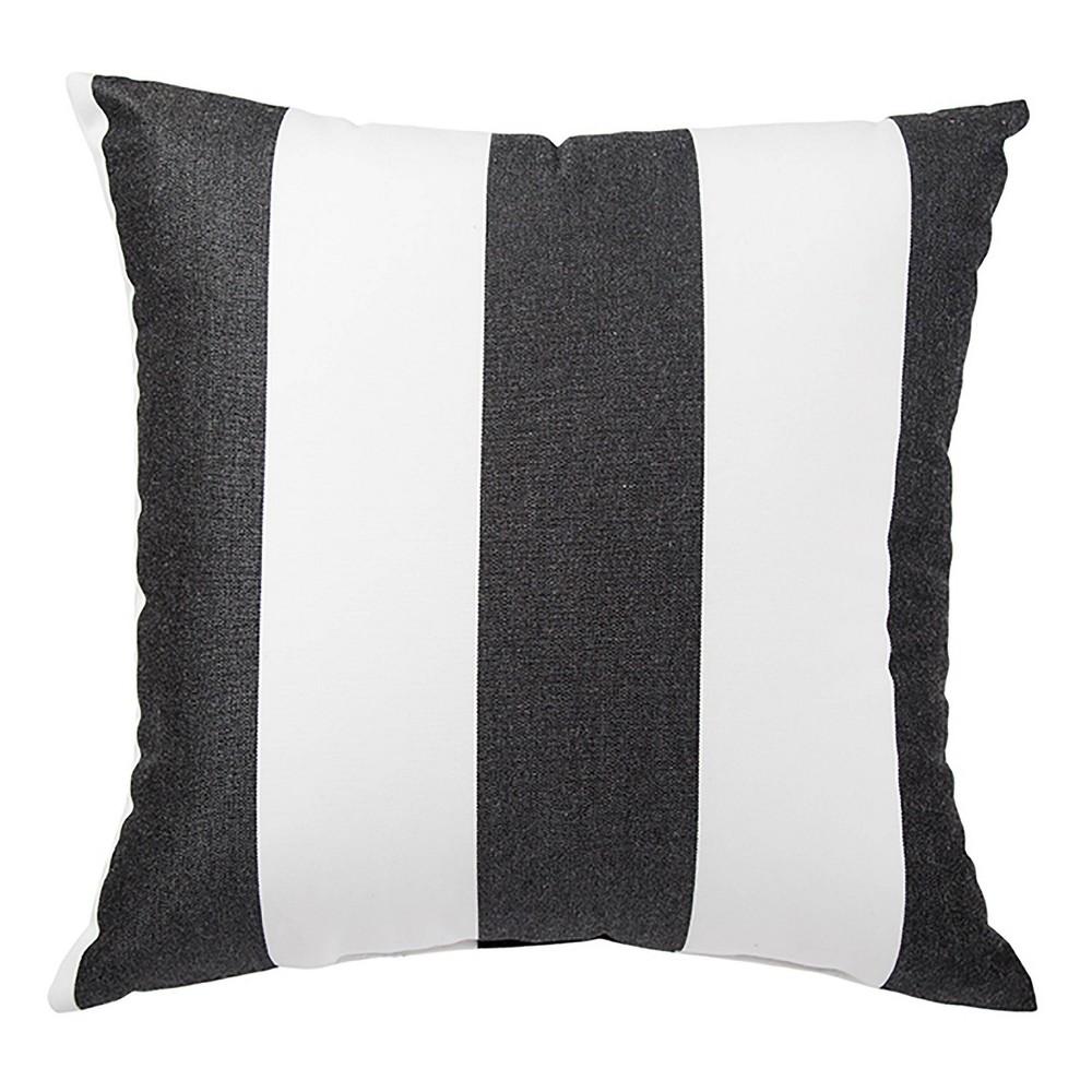"Image of ""17"""" Shallows Indoor/Outdoor Stripe Throw Pillow Black/White - Jaipur Living, White Black"""