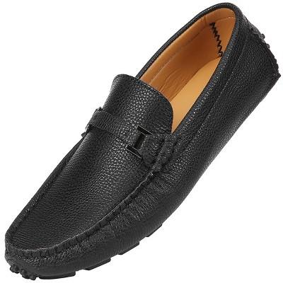 Mio Marino - Men's Buckle Tread Casual Loafers - Jet, Size: 13