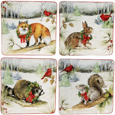 "Tabletop 8.5"" Winter Forest Dessert Plates Christmas Set/4 Certified International  -  Serving Platters"