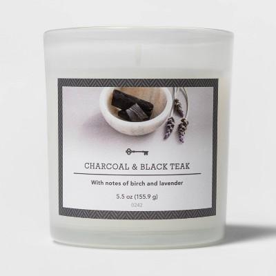 5.5oz Glass Jar Charcoal and Black Teak Candle - Threshold™