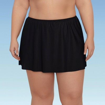Women's Plus Size Slimming Control Swim Skirt - Dreamsuit by Miracle Brands Black