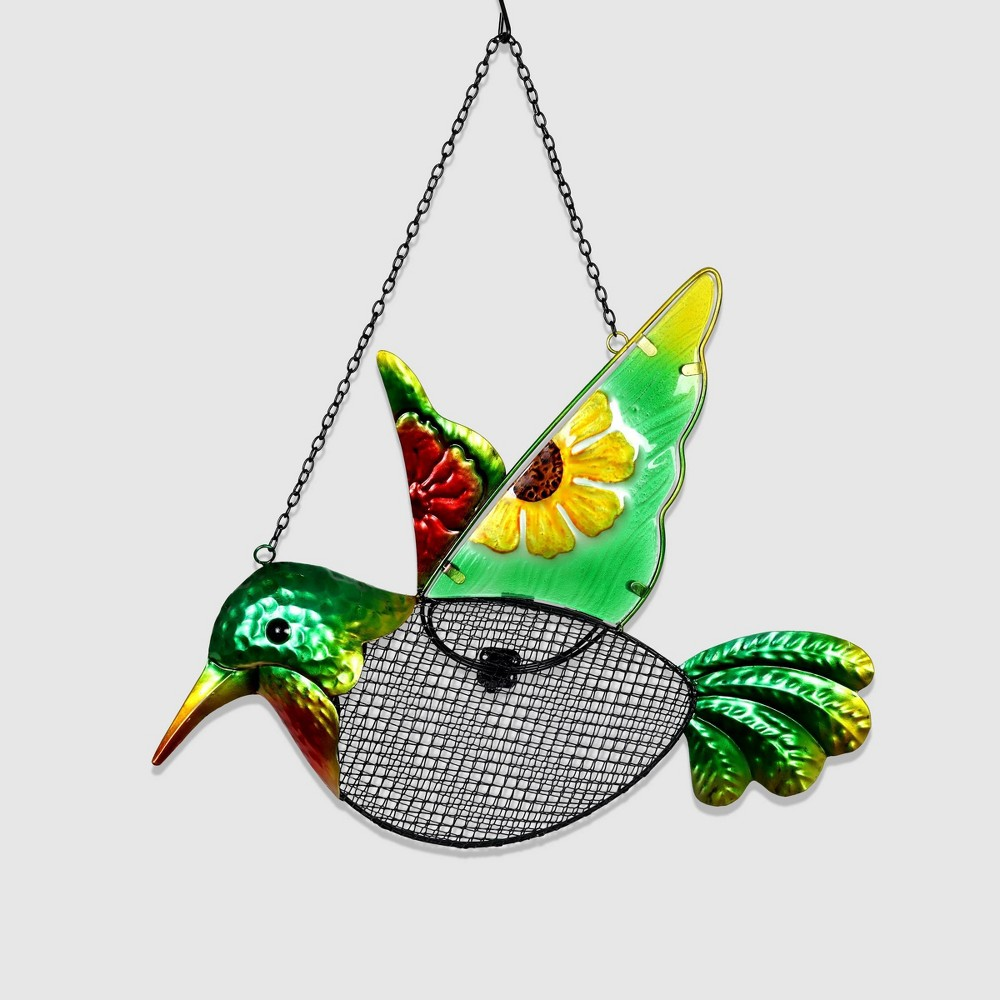 "Image of ""18"""" Resin Pellet Basket Hummingbird Bird Feeder - Exhart"""