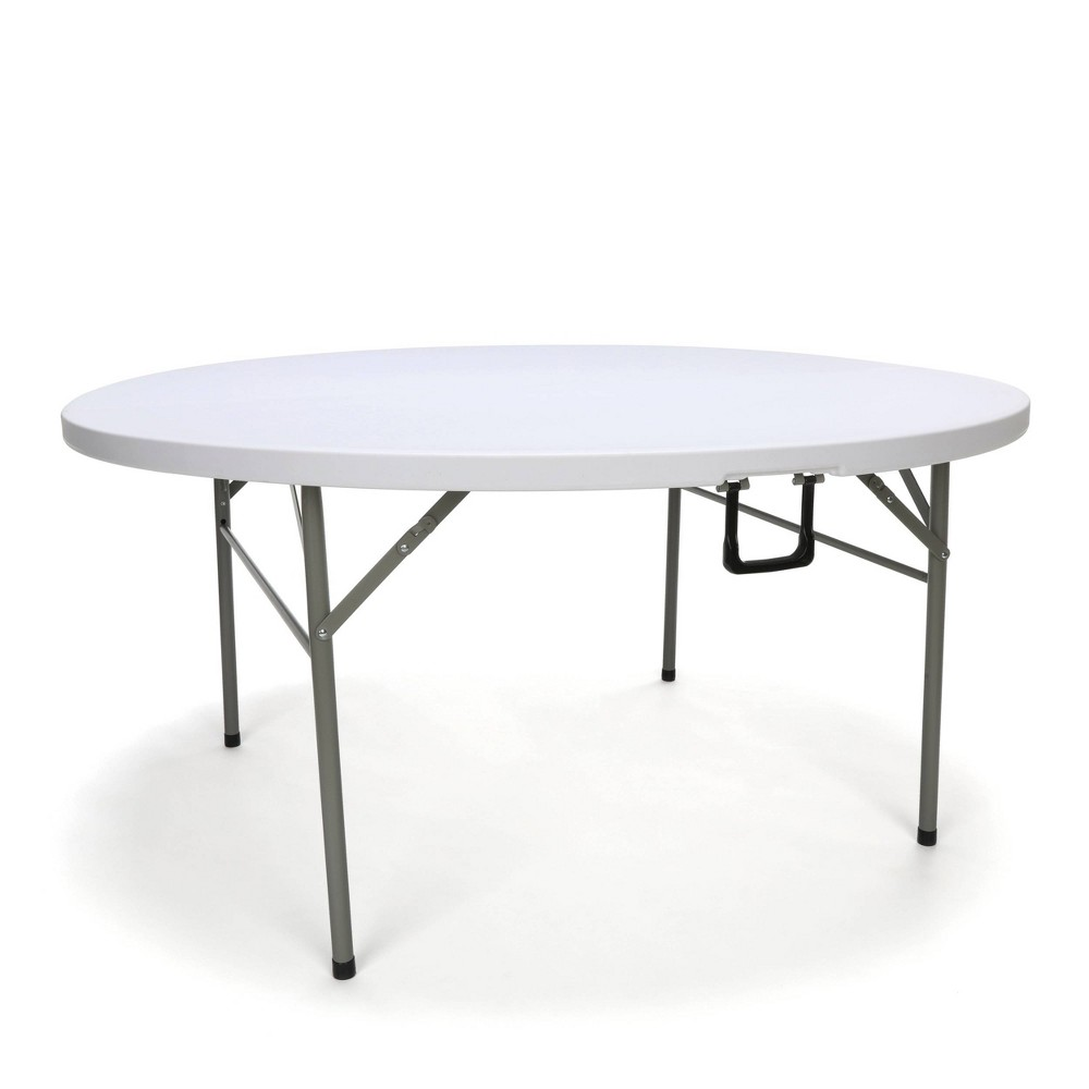 "Image of ""60"""" Essentials Collection Round Center Folding Utility Table White - OFM"""