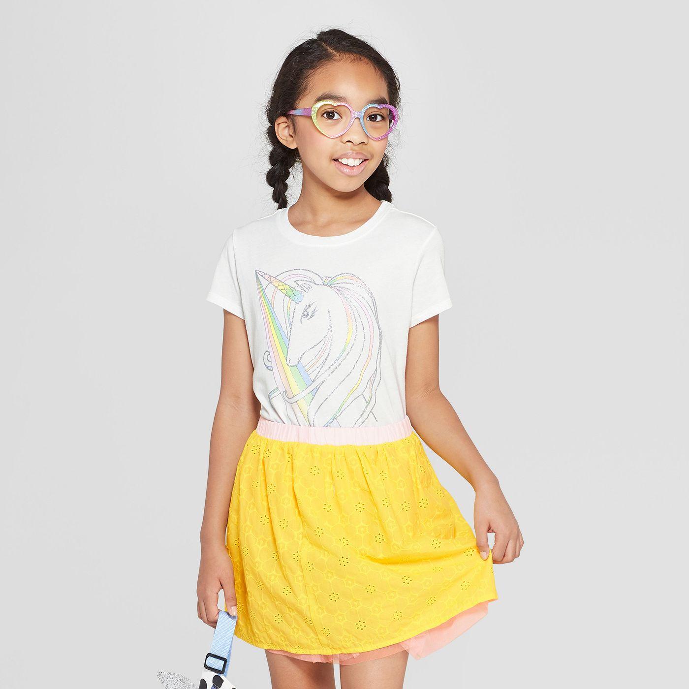 Girls' Short Sleeve Unicorn Graphic T-Shirt - Cat & Jack™ White - image 1 of 3