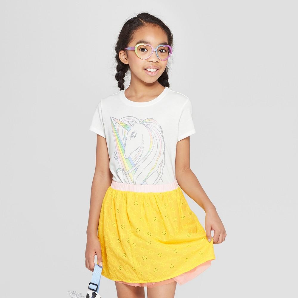 Girls' Short Sleeve Unicorn Graphic T-Shirt - Cat & Jack White L