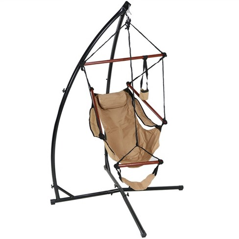Hammock Hanging Chair and X-Stand - Tan - Sunnydaze Decor - image 1 of 6