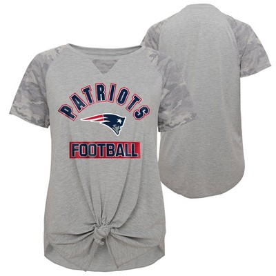 NFL New England Patriots Women's Short Sleeve Front Knot T-Shirt