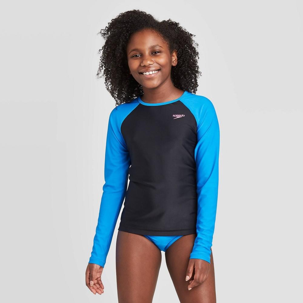 Speedo Girls 39 Long Sleeve Rash Guard Swim Shirt