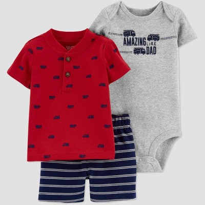 Baby Boys' Truck Top & Bottom Set - Just One You® made by carter's Red/Gray/Blue 3M