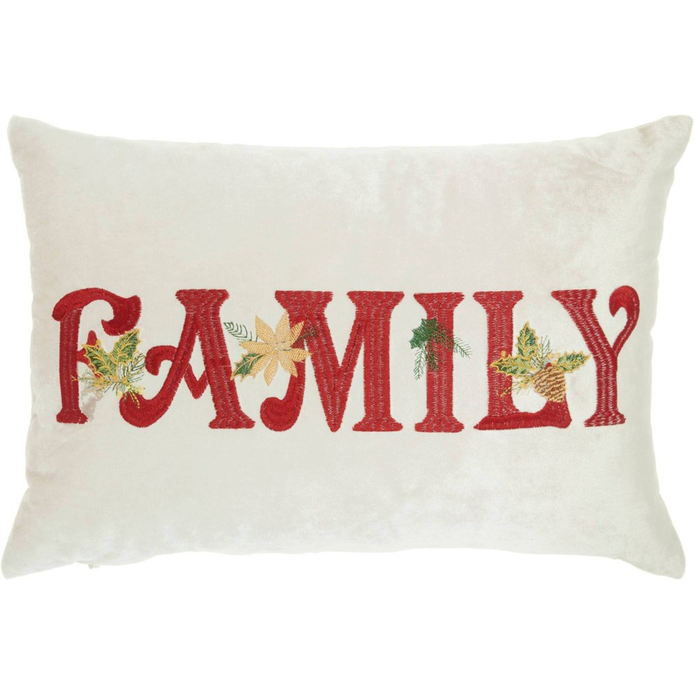 """Image of """"Embroidered """"""""Family"""""""" Beige Christmas Throw Pillow -Nourison, Beige Red Green"""""""