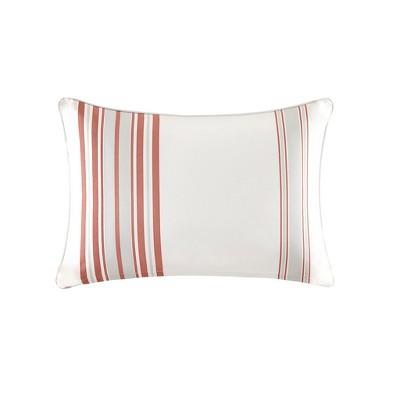 Ventura Printed Stripe 3M Scotchgard Outdoor Pillow Coral/White - 14x20
