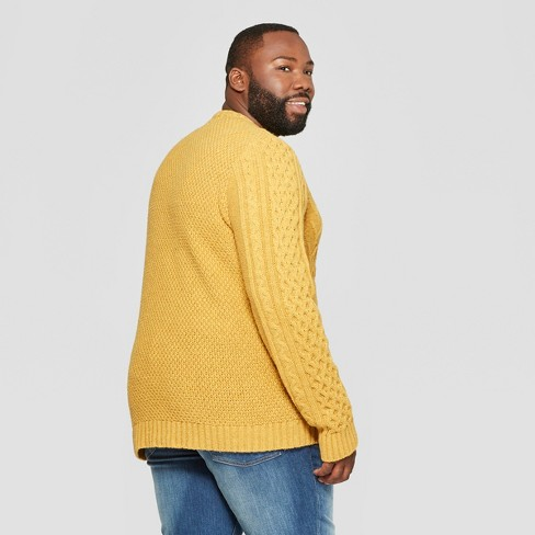 eb0b5ff912 Men s Big   Tall Long Sleeve Standard Fit Cable Crew Pullover Sweater -  Goodfellow   Co™ Gold 2XBT   Target