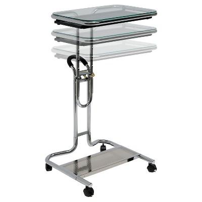 Laptop Cart w/ Extending Side Shelf - Chrome / Clear