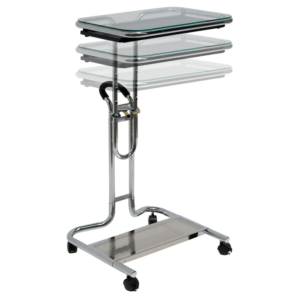 Image of Laptop Cart w/ Extending Side Shelf - Chrome / Clear