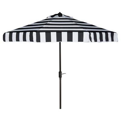 Elsa Fashion Line 9' Umbrella - Black / White - Safavieh