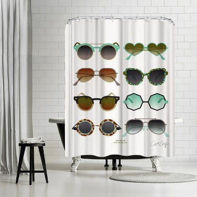 """Americanflat Sunglasses Mint And Sepia by Cat Coquillette 71"""" x 74"""" Shower Curtain"""