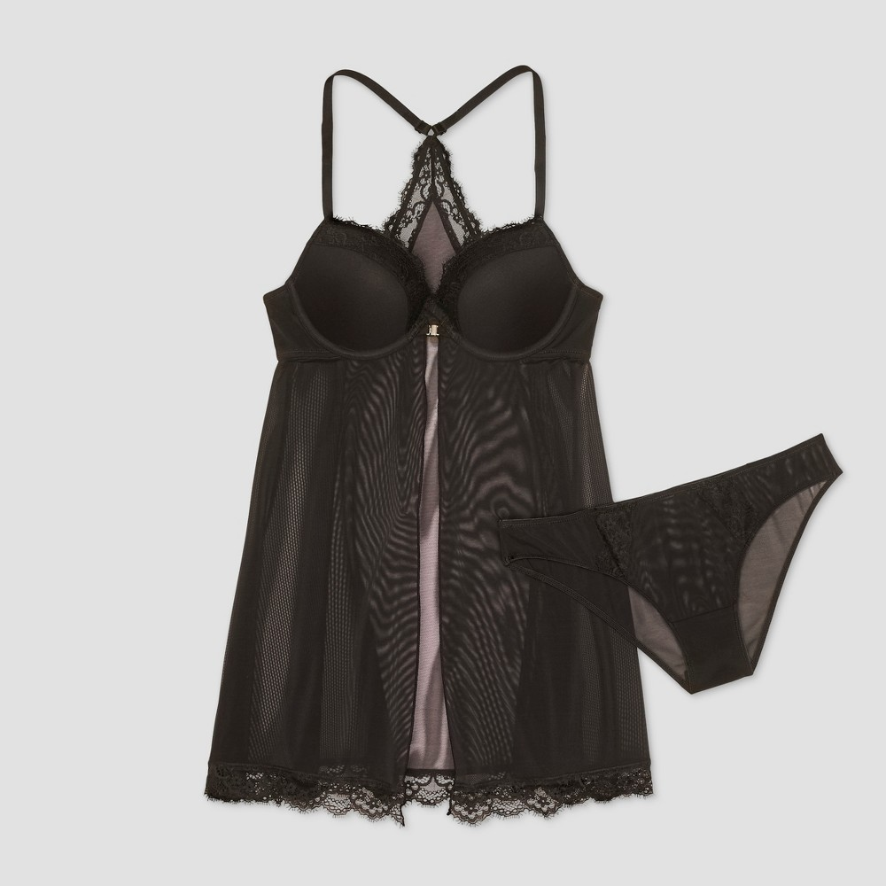Women's Push-Up Fly Away Babydoll Set Black L