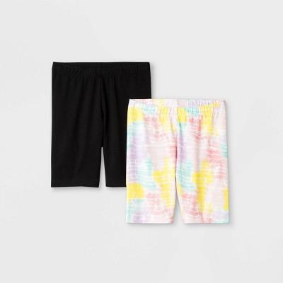 Girls' 2pk Mid-Length Tie-Dye Bike Shorts - Cat & Jack™ Black