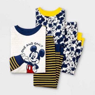Baby Boys' 4pc Mickey Mouse & Friends Snug Fit Pajama Set - Blue 18M