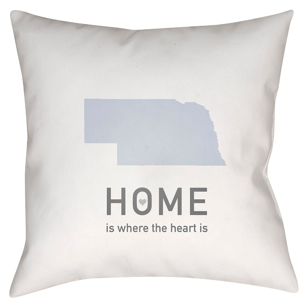 White Homebound Nebraska Throw Pillow 18