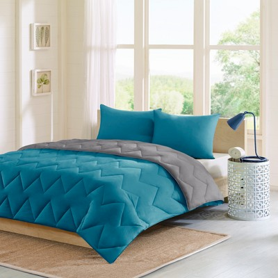 Teal/Gray Penny Reversible Down Alternative Comforter Mini Set