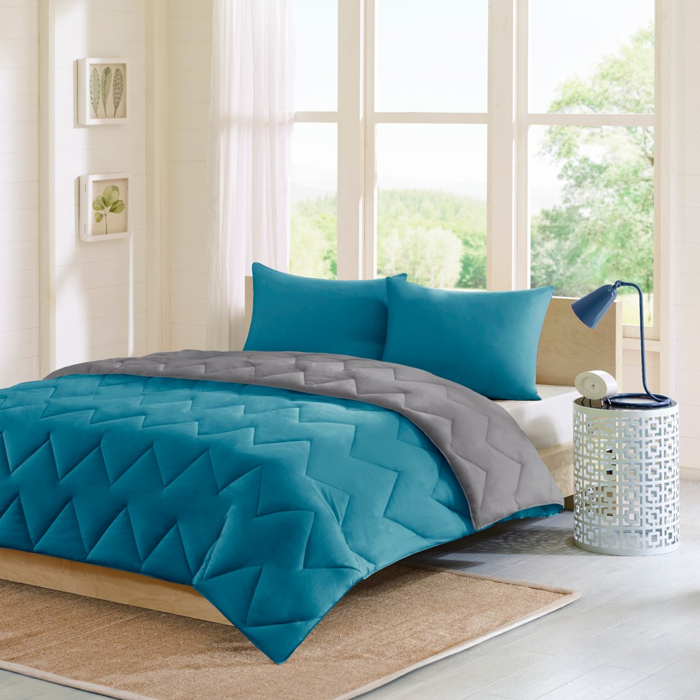 Top Teal Gray Penny Reversible Down Alternative Comforter Set Twin Twin Extra Long 2pc