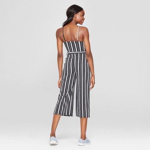 09c46d2eda23 Women s Striped Sleeveless Sweetheart Neckline Jumpsuit - Almost Famous  (Juniors ) Black White   Target