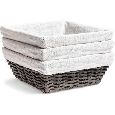 Farmlyn Creek 3-Pack Grey Square Wicker Storage Baskets with Liners (9 x 9 x 3.5 Inches)