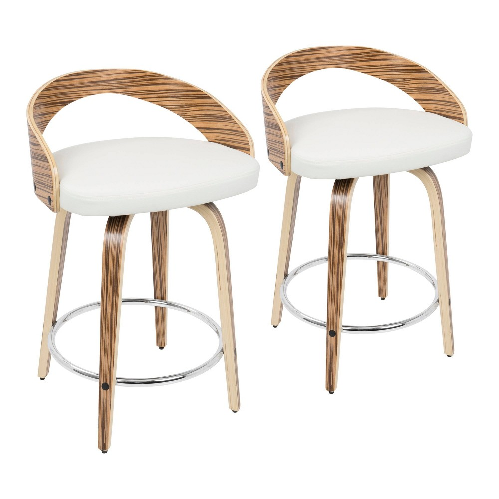 Set of 2 Grotto Mid Century Modern Counter Stool with Swivel Faux Leather White - LumiSource, Black/White