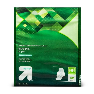 Ultra Thin Long Super Pads with Wings 42ct - Up&Up™ (Compare to Always Ultra Thin Long Super)