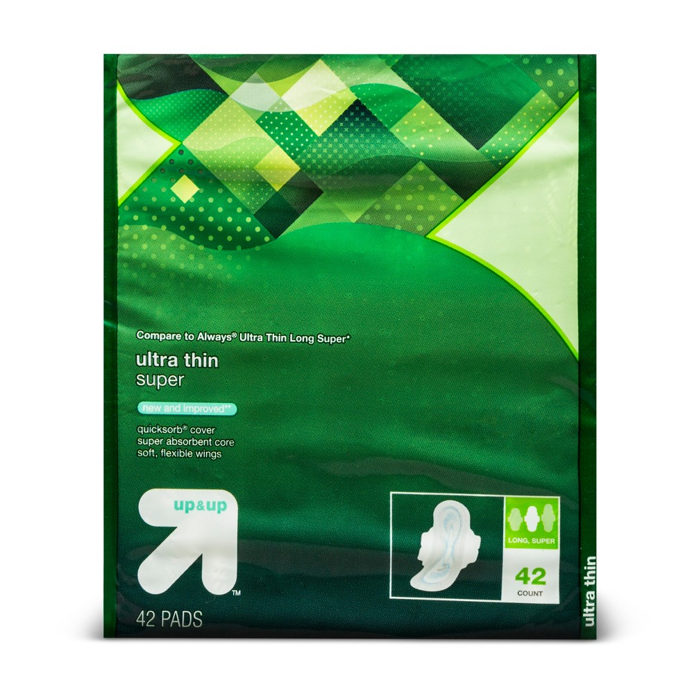 Ultra Thin Long Super Pads with Wings - 42ct - Up&Up (Compare to Always Ultra Thin Long Super)