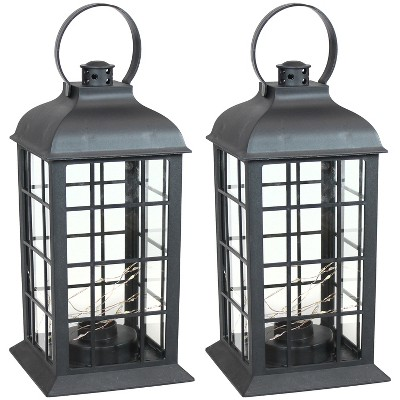 """2ct 13"""" Oyster Bay Plastic and Glass Battery Operated Indoor LED Candle Lantern - Black - Sunnydaze Decor"""